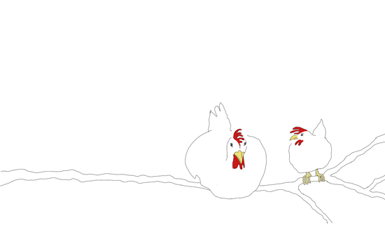 chickens in the tree