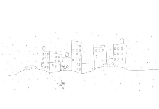 snow in east village